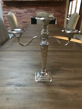 BEAUTIFUL Pottery Barn Eclectic Silver-Plated LARGE HEAVY 3 Taper Candelabra