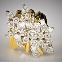 Huge 1.50 Carat Diamond Cluster 14K Yellow Gold Finish 925 Silver Cocktail Ring