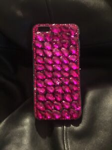 Iphone 6s Plus Tear Drop Rhinestone Case Handmade Size 5.5 Hot Pink