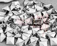 100 Silver Metal 10mm Leathercraft DIY Pyramid Studs Spots Spikes Rock Punk