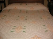 Vintage Chenille Bedspread Floral Synthetic Retro Mod 1960's Full Size Pink