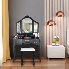 Vanity Beauty Station Makeup Table And Wooden Stool 3 Mirrors And 5 Drawers Set