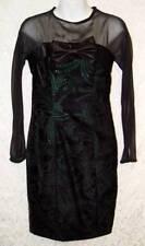 Satin Bow SHEER UPPER Shiny GREEN Embroidered Custom Made BLACK VELVET Dress! S