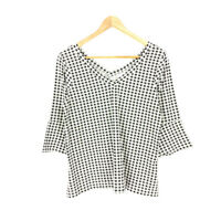 J Jill Pima Cotton Top Pullover Black White XS Petite Check V-Neck 3/4 Sleeve