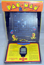 1982 NELSONIC PAC-MAN GAME WATCH with BUTTONS NEW in PACKAGE & RARE ARCADE BOX!