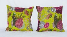 FREE SHIPPING AamiraA Handmade Green Kantha Threaded Pillow Cushion Covers