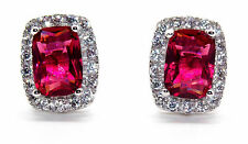 Sterling Silver Ruby And Diamond 4.76ct Earring (925)