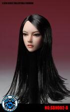 """1/6 Female Head sculpt SDH002B LONG BLACK HAIR For 12"""" PALE Phicen"""