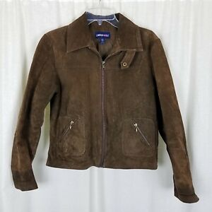 Limited Too Brown Brushed Leather Zip Up Jacket Girls XL Suede Motorcycle Look