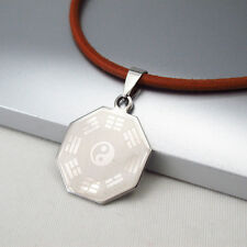Silver Octagon Tai Chi Ba Gua Symbol Pendant 3mm Black Leather Ethnic Necklace