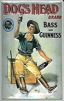 Dog's Head Bass & Guinness embossed steel sign (hi 3020) REDUCED TO CLEAR!