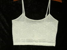 Supre Ladies Small Cream Lace Thin Strap Crop Top - - Brand New with Tags!
