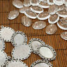 10Sets DIY Pendant Settings 18x25mm Oval Clear Glass Cabochons Antique Silver