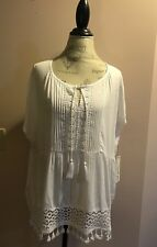 Tribal Jeans Brand, White Drop Waist Top With Lace Accents, NWT, XL