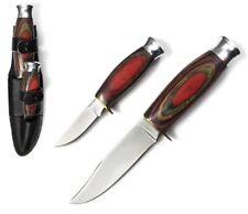 2 Pcs Pakawood Handle Knives w/ Leather Sheath 8.5� & 5.5� Ra1012-B