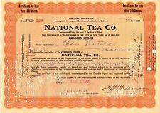 National Tea Co. Stock Certificate 1929