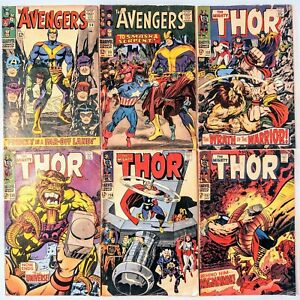 LOT OF 6 SILVER AGE MARVEL COMICS (AVENGERS #30, 33) (THOR #152, 155, 156, 157)
