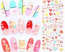 Valentines Nail Art Water Decals Stickers Rainbow Love Hearts and Love Chain 63a