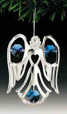 "SWAROVSKI CRYSTAL ELEMENTS ""Angel Open Arm"" FIGURINE - ORNAMENT SILVE PLATED"