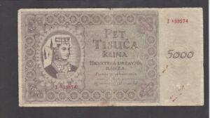 5000 KUNA VG BANKNOTE FROM NAZI GOVERNMENT OF CROATIA 1943 PICK-14
