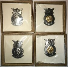 USAF FIRE PROTECTION FIREFIGHTER&FIRE CHIEF BADGE IDENT. MINI SIZE SET OF 4 NEW