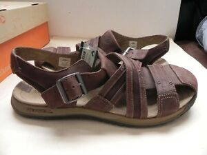 Merrell~Traveler Fisher~Espresso Brown Leather Sandals Men's sz US 14~NEW in Box