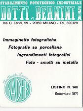 LISTINO PREZZI 1971 DITTA DOTTI E BERNINI MILANO SADEB FOTOGRAFIE  19-75