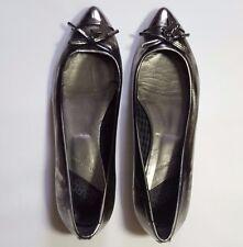 🦄 Karl Lagerfeld Silver Size 6 EU 39 Faux Leather Shoes Flats Pumps Ballet