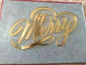 Fabulous Papyrus Christmas Card- 3D Metallic Gold Plaque Reads BE MERRY Glitter