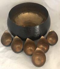 Tozai Home Brass 6 Votives & Bowl Alchemy Collection Marilyn Davidson Gold Tone