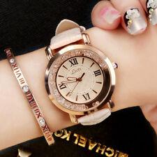 New Women Girl Glossy Crystal Wristwatch Sudtent Girl Leather Strap Quartz Watch