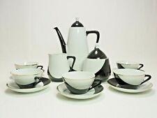 Vintage Mokka-Service Black & White Hollohaza Porzellan Hungary Coffee Service