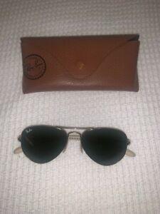 Ray-Ban Metal Frame Black Lenses Small Aviator Sunglasses