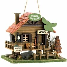 Log Cabin Fishing Camping Wood Bird House Feeder Bird Watching Rustic Forest