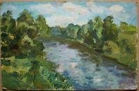 Russian Ukrainian Soviet Oil Painting Landscape impressionism forest river