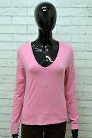Maglia LIU JO Donna Taglia Size M Maglietta Shirt Woman Cotone Manica Lunga Rosa