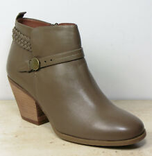 New M&S INDIGO Real LEATHER Cuban Heel ANKLE BOOTS ~ Size 5 ~ KHAKI (rrp £65)