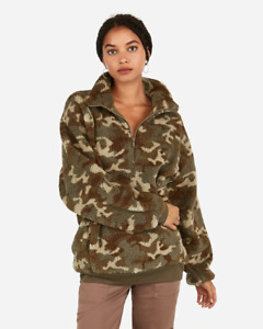 NEW STYLE! EXPRESS one eleven sherpa fleece quarter zip sweatshirt camo  L XL