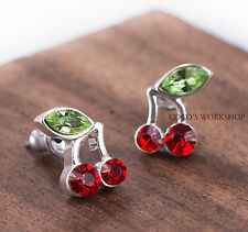 RED CRYSTAL CHERRY EARRINGS PIERCED STUD EARRINGS  XMAS GIFT