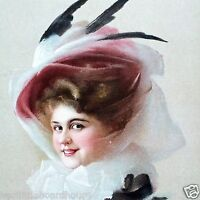 Vintage Original FEATHER HAT VICTORIAN STONE LITHOGRAPH PRINT 1910 nos unused