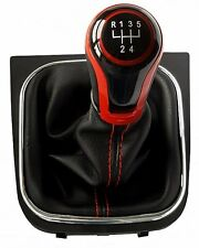 Passend für VW GOLF 5 6 EOS SCIROCCO LEDER SCHALTKNAUF  SCHALTSACK 5G R-S5G