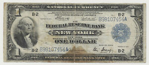 USA United States of America NEW YORK 1 Dollar Federal Reserve Bank  1914
