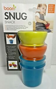 Boon SNUG Snack Universal Silicone Snack Lid & Cup Set Blue/Green, Brand, T1