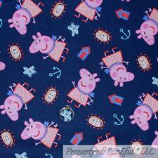 BonEful FABRIC Cotton Quilt White Pink PEPPA the PIG Cartoon Baby Girl Dot SCRAP