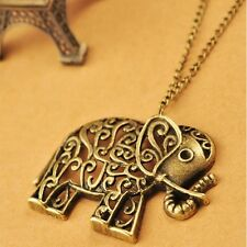 Carving Sweater Long Chain Necklace Antique Elephant Hollow Alloy Pendant