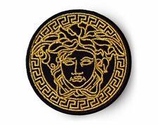 "2.25"" black Vintage Medusa Logo Embroidered Iron On / Sew On Patch"