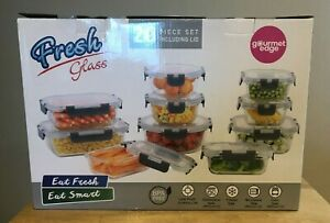 GOURMET EDGE FRESH GLASS 20 PIECE CONTAINER SET INCLUDING LOCKING LID NEW IN BOX