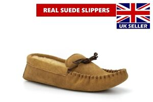 Mens Real Suede Moccasin Slippers Real Suede Sole (No Plastic) Real Leather Size