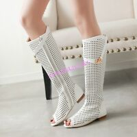 Womens Open Toe Hollow Out Zipper Knee Boot Summer Shoes Low Heel All Size Roman