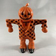 New ListingVintage Rosbro Rosen Hard Plastic Halloween Scarecrow Pumpkin Candy Container